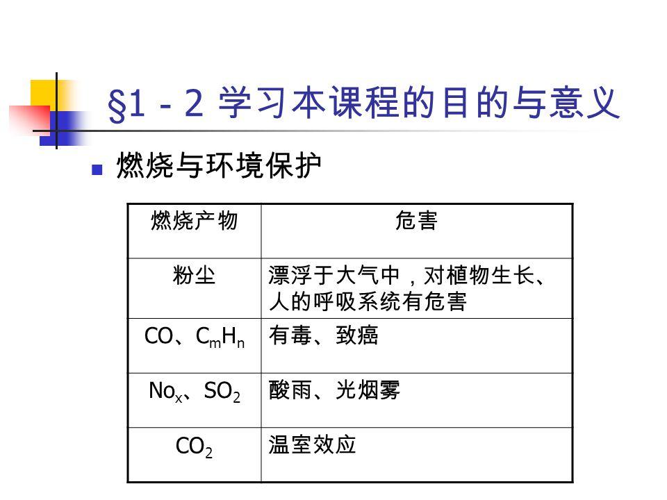 §1 - 2 学习本课程的目的与意义 目的  高效、高强度燃烧  清洁燃烧