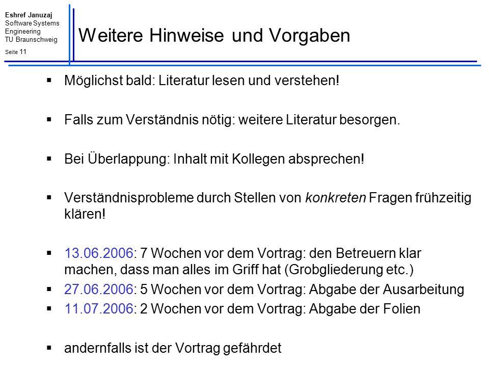 Eshref Januzaj Software Systems Engineering TU Braunschweig Seite 12 Fragen?