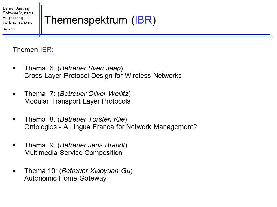 Eshref Januzaj Software Systems Engineering TU Braunschweig Seite 15 Themenzuordnung - Teilnehmer Nr.