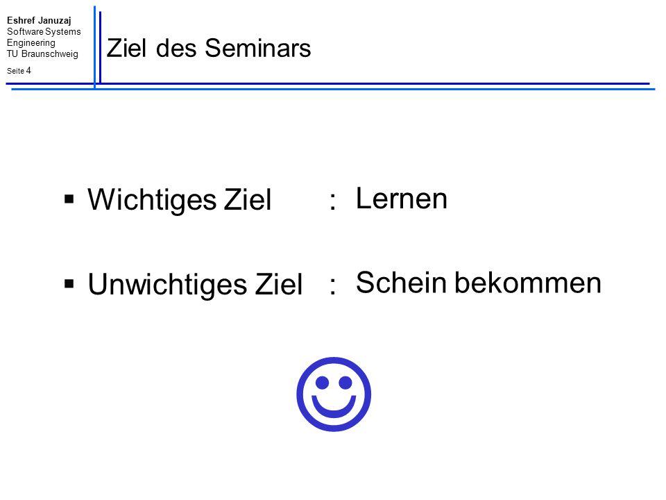 Eshref Januzaj Software Systems Engineering TU Braunschweig Seite 5 Organisatorisches : Das Team Prof.
