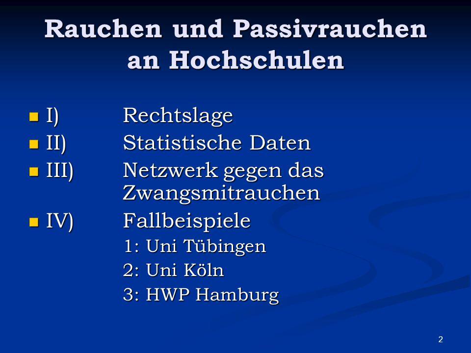 3 Rechtslage Deutschland: § 3a ArbStättV Deutschland: § 3a ArbStättV 1) Der Arbeitgeber hat die erforderlichen Maßnahmen zu treffen, damit die nichtrauchenden Beschäftigten in Arbeitsstätten wirksam vor den Gesundheitsgefahren durch Tabakrauch geschützt sind.
