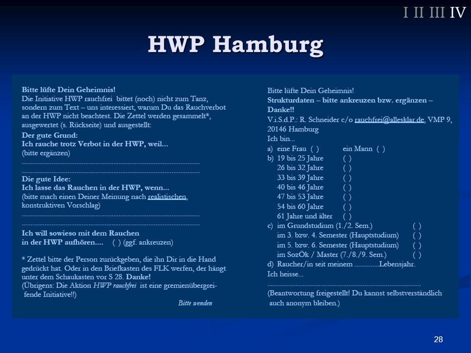 29 I II III IV HWP Hamburg Es gibt ehrliche Gründe, aber gibt es auch gute ?