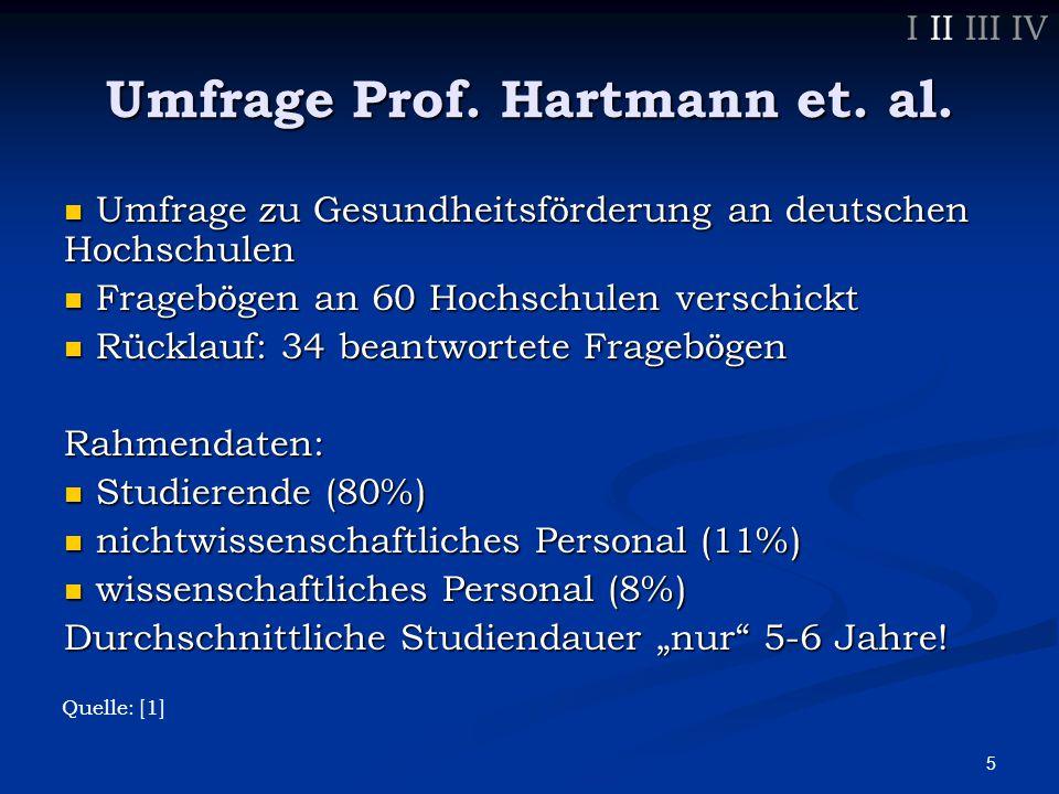 6 Umfrage Prof.Hartmann et. al. Gesundheitsförderung in Leitbild aufgenommen.