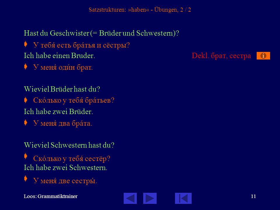 Loos: Grammatiktrainer12 Satzstrukturen: Verneinung, 1 / 5 1.Die einfache Verneinung mit не – Он читàет.