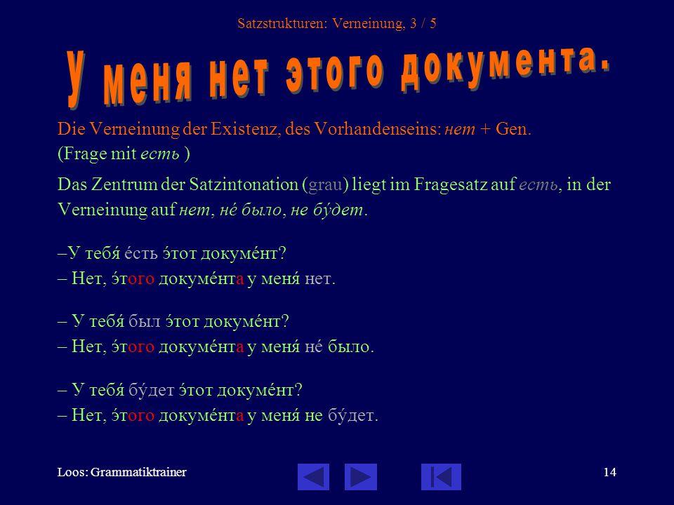 Loos: Grammatiktrainer15 Satzstrukturen: Verneinung, 4 / 5 Die mit ни- erweiterte Verneinung ни- benötigt eine zusätzlich Verneinung des Verbs mit не.