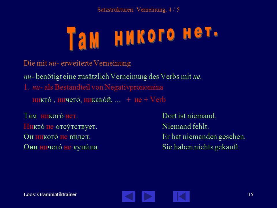 Loos: Grammatiktrainer16 Satzstrukturen: Verneinung, 5 / 5 2.Die Negativadverbien: никогдà, никудà, нигдå,...