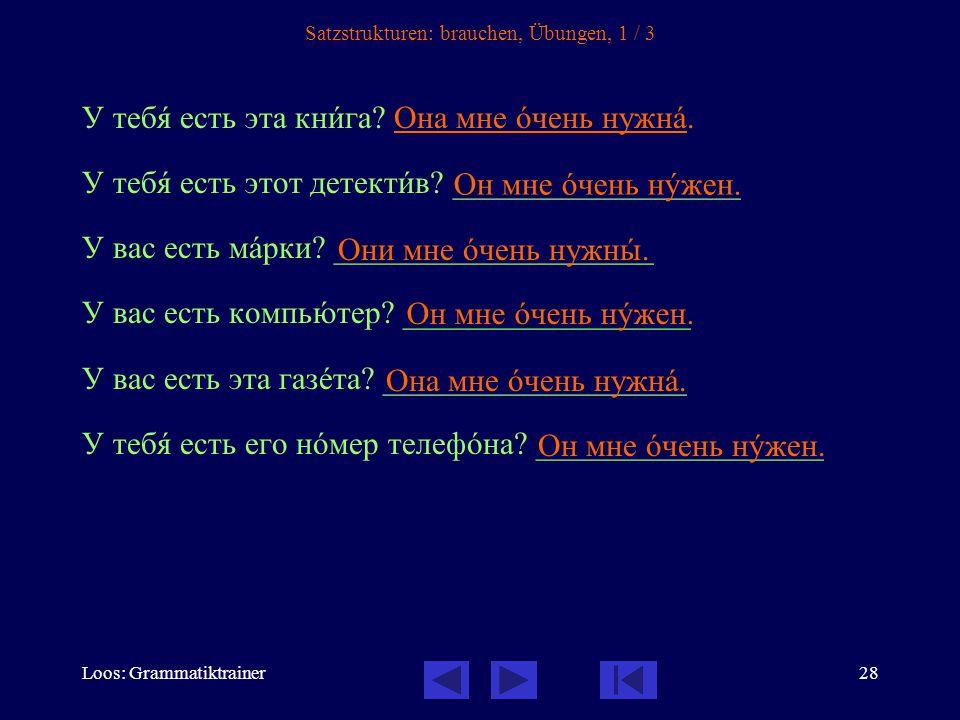 Loos: Grammatiktrainer29 Satzstrukturen: brauchen, Übungen, 2 / 3 – У менÿ нет хорîшего словарÿ.