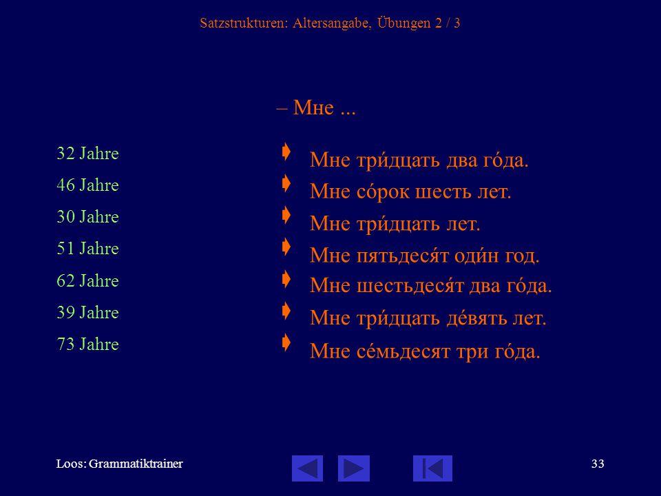 Loos: Grammatiktrainer34 Satzstrukturen: Altersangabe, Übungen 3 / 3 – Мне...