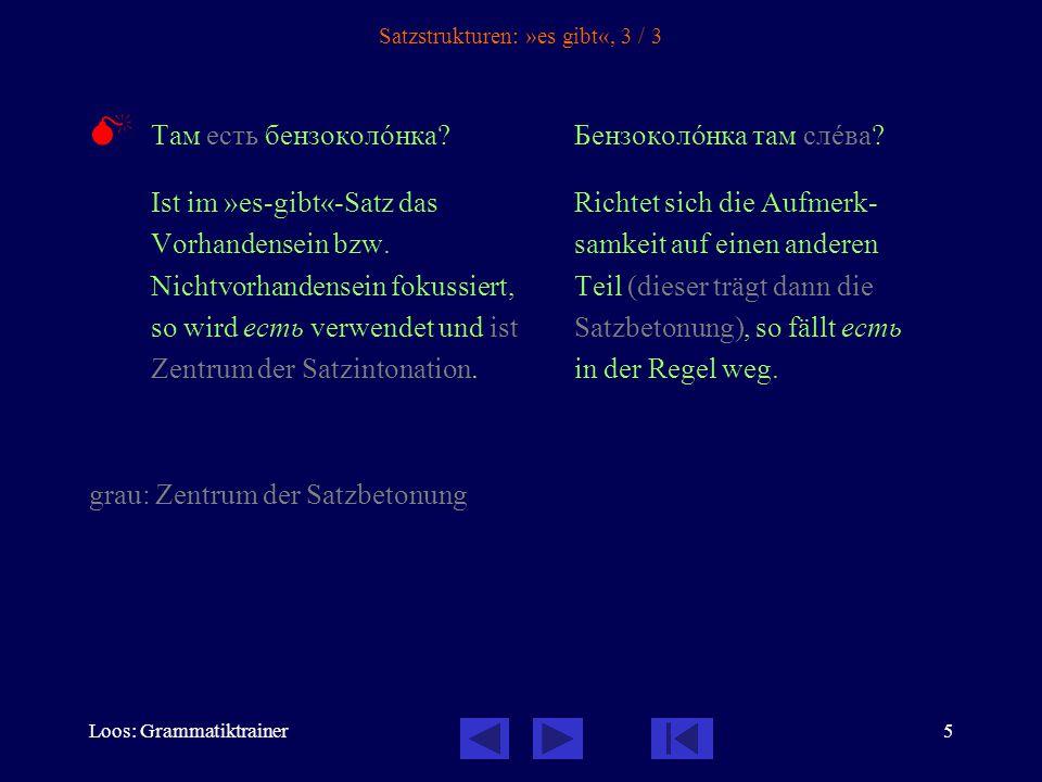 Loos: Grammatiktrainer6 Satzstrukturen: »es gibt«, Übungen Как вы спрîсите.
