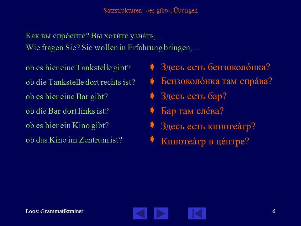 Loos: Grammatiktrainer7 Satzstrukturen: »haben«, 1 / 3 »Haben« wird im Russischen mit der Struktur »Bei mir ist...« wiedergegeben: У менÿ есть...