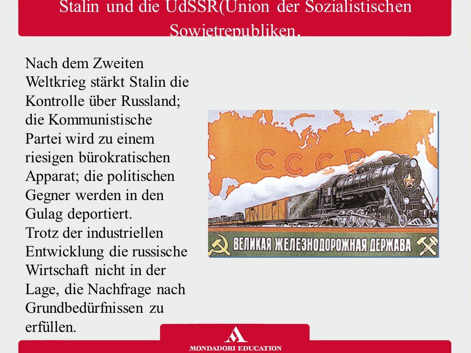Sowjetische Kontrolle in Osteuropa Im Klima des Kalten Krieges erweitert die Sowjetunion die Kontrolle über Osteuropa; die lokalen kommunistischen Parteien folgen den Richtlinien, die von Moskau kommen; sie beseitigen die Oppositionskräfte und sie erstellen ähnliche Programme wie die von Stalin.