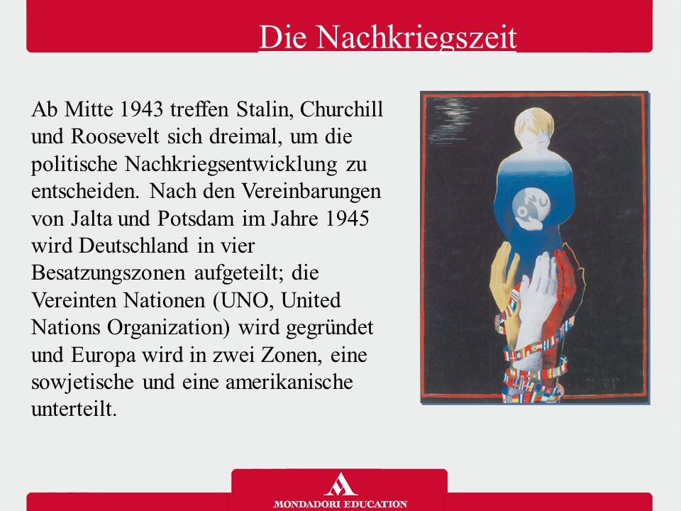 Die beiden Bloecke Die beiden Einflusssphären, in die Europa eingeteilt wird, werden zwei feindliche Blöcke, von den USA und der UdSSR( Union der Sozialistischen Sowjetrepubliken) geleitet.