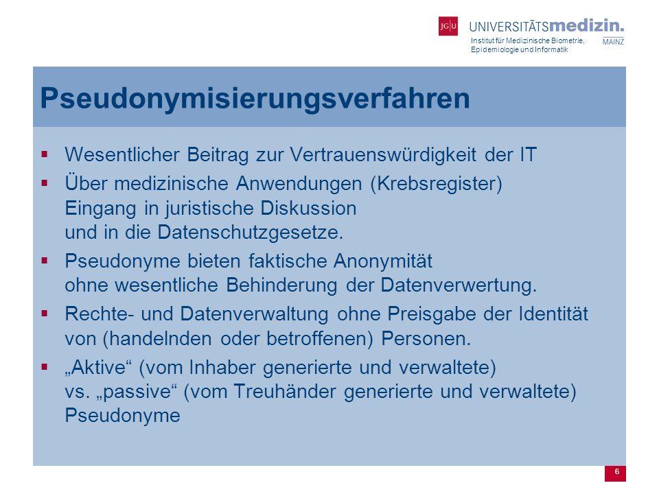 Institut für Medizinische Biometrie, Epidemiologie und Informatik 7 Inhabergenerierte Pseudonyme  Erfunden außerhalb der medizinischen Anwendung  D.