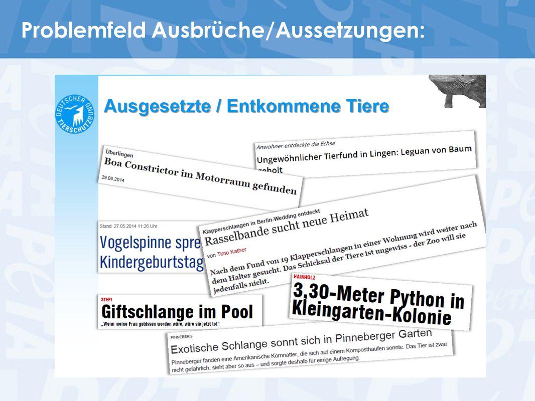 """Koalitionsvertrag CDU/CSU/SPD, S.84: """" Importe von Wildfängen in die EU sollen grundsätzlich verboten und gewerbliche Tierbörsen für exotische Tiere untersagt werden. GfK-Umfrage 10.2014: ~95% unterstützen Einfuhrverbot für Wildfänge ~89% unterstützen Verbot gewerblicher Börsen"""