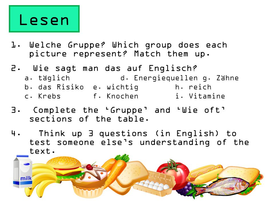 Lesen 1.Welche Gruppe.Which group does each picture represent.