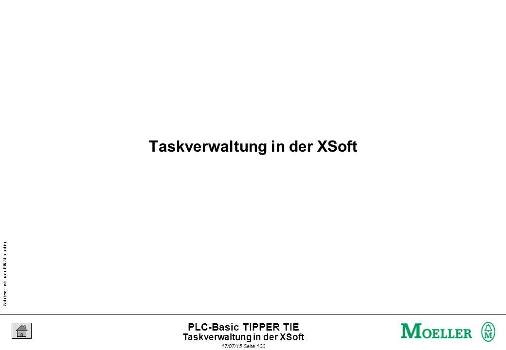 """Schutzvermerk nach DIN 34 beachten 17/07/15 Seite 101 PLC-Basic TIPPER TIE Task1 10ms Prg1 Prg2Prg3 Task2 event Prg4 Prg5 In XSoft existieren die Task-Arten """"Periodisch und """"Ereignisgesteuert ."""