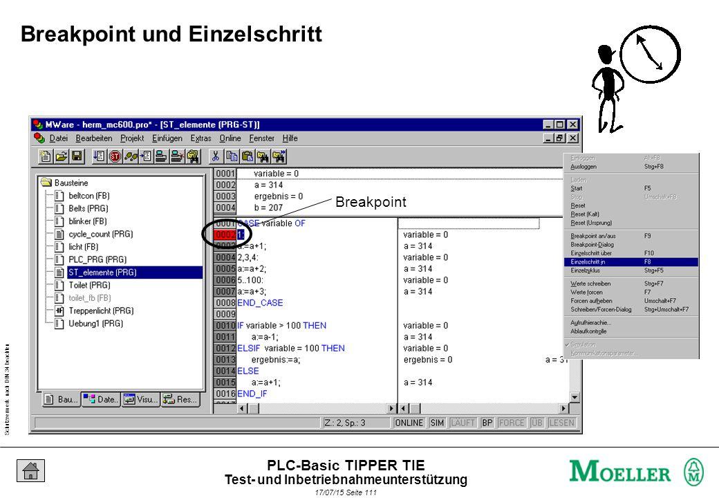 Schutzvermerk nach DIN 34 beachten 17/07/15 Seite 112 PLC-Basic TIPPER TIE F2 Watch- und Rezepturfenster Test- und Inbetriebnahmeunterstützung