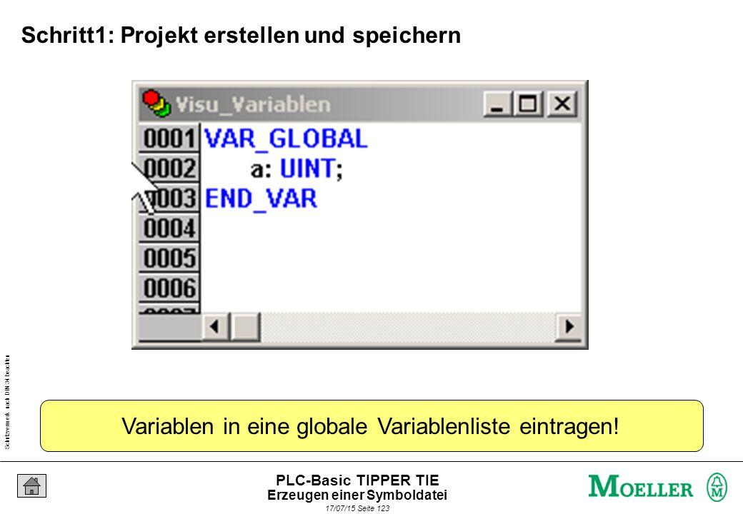 Schutzvermerk nach DIN 34 beachten 17/07/15 Seite 124 PLC-Basic TIPPER TIE Schritt 2: Übersetzen Erzeugen einer Symboldatei