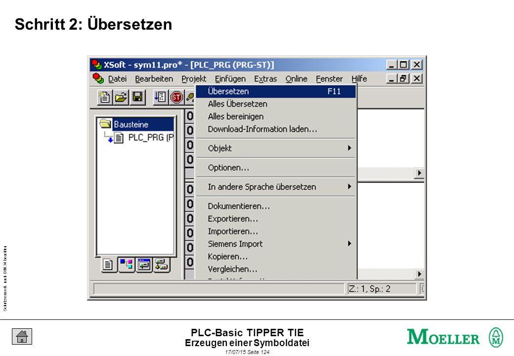 Schutzvermerk nach DIN 34 beachten 17/07/15 Seite 125 PLC-Basic TIPPER TIE Simulation abschalten Simulation Erzeugen einer Symboldatei