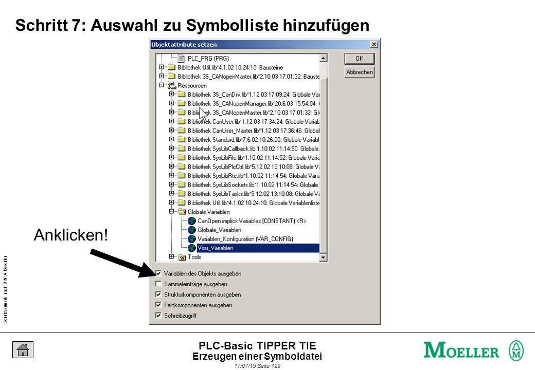 Schutzvermerk nach DIN 34 beachten 17/07/15 Seite 130 PLC-Basic TIPPER TIE Schritt 8: Fenster mit OK verlassen und übersetzen Bestätigen.