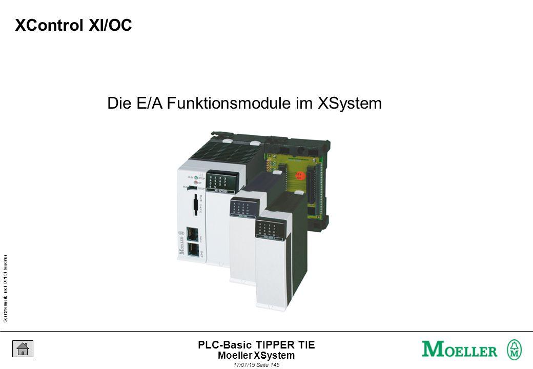 Schutzvermerk nach DIN 34 beachten 17/07/15 Seite 146 PLC-Basic TIPPER TIE - Einheitliches E/A-System für die gesamte XControl Steuerungspalette - XI/OC-Modul auswechselbar ohne Lösen der Verdrahtung -Freie Wahl der Anschlusstechnik - Schraubanschluss - Käfigzugfeder Platzoptimierte Ein-/Ausgangsmodule Moeller XSystem