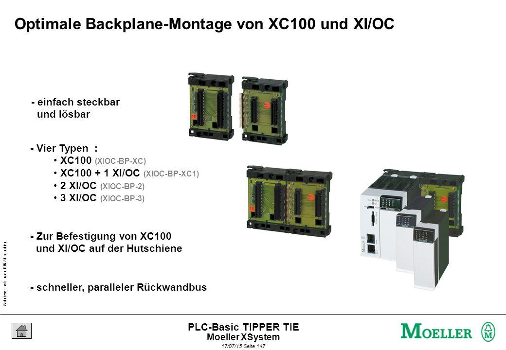 Schutzvermerk nach DIN 34 beachten 17/07/15 Seite 148 PLC-Basic TIPPER TIE - Displaysteuerung für Maschinen und Anlagen - Robuste und kompakte Bauform - Zeichendisplay mit 8 x 20 oder 4 x 10 Zeichen - Folientastatur mit 28 Tasten und 3 LEDs - Integrierte Ein/Ausgänge - Standard Feldbus Schnittstelle CANopen - Wechselbares Speichermedium (Compact Flash) - Programmierbar nach IEC1131 - Front IP65 Technische Eigenschaften XVC100 Moeller XSystem