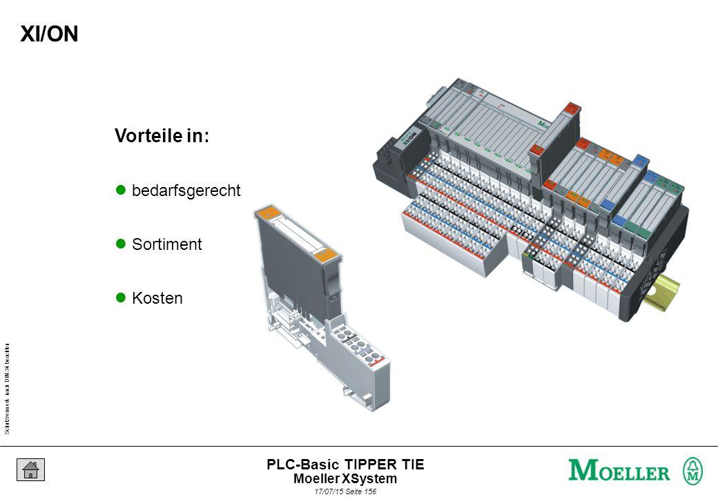 Schutzvermerk nach DIN 34 beachten 17/07/15 Seite 157 PLC-Basic TIPPER TIE Zugfeder oder Schraubanschluss optional TOP-Anschluss Jeder Anschlußpunkt ist mit einer individuellen Nummer versehen 2-, 3-, oder 4-Leiter Sensoren oder Aktoren anschließbar störungsfrei, da ohne Elektronik Schraubanschluß Zugfeder XI/ON-Basismodule Moeller XSystem