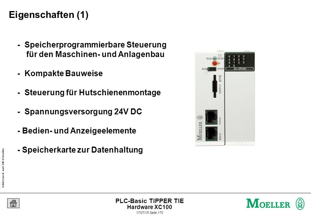 Schutzvermerk nach DIN 34 beachten 17/07/15 Seite 171 PLC-Basic TIPPER TIE - 2 XControl XC100 Steuerungen - 64 K Speicher für IEC-Anwenderprogramm / 64 K für Daten - 128 K Speicher für IEC-Anwenderprogramm / 128 K für Daten - Programmierschnittstelle - Feldbusschnittstelle - Lokale I/O über Klemmenblock - Systembus für lokale Erweiterungen - Batterie für Datenhaltung Eigenschaften (2) Hardware XC100