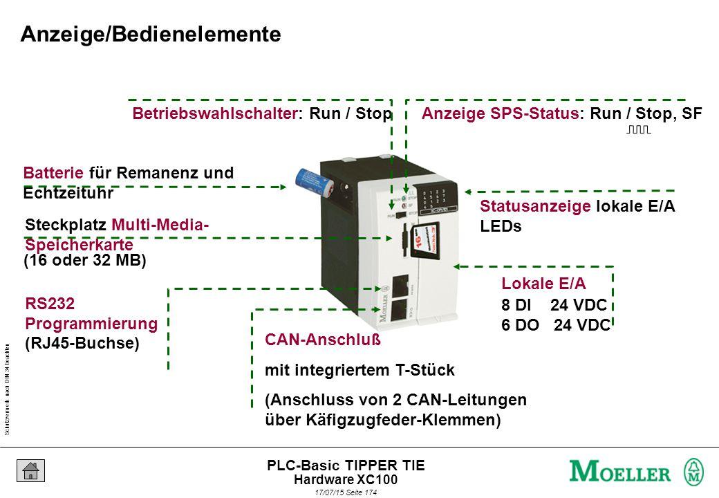 Schutzvermerk nach DIN 34 beachten 17/07/15 Seite 175 PLC-Basic TIPPER TIE CPU XC100 = 0,5 ms /1000 Anweisungen SPS-Echtzeitsystem Arbeitsspeicher SRAM - Programm - Rezepturen - Visu-Texte CANopen Echtzeituhr Batterie Multi-Media-Karte - Feldbus-Master - Steuerungs- Vernetzung (XControl zu XControl) - Programmierzugang - Modem, Drucker etc.