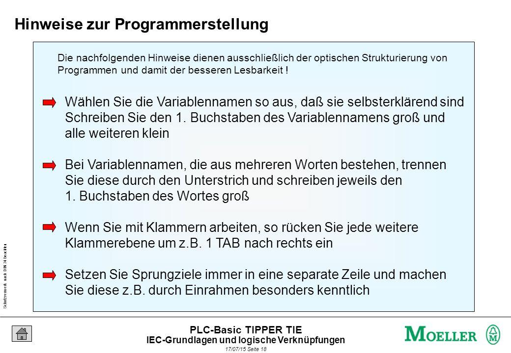 Schutzvermerk nach DIN 34 beachten 17/07/15 Seite 19 PLC-Basic TIPPER TIE Arbeiten mit Klammern IEC-Grundlagen und logische Verknüpfungen