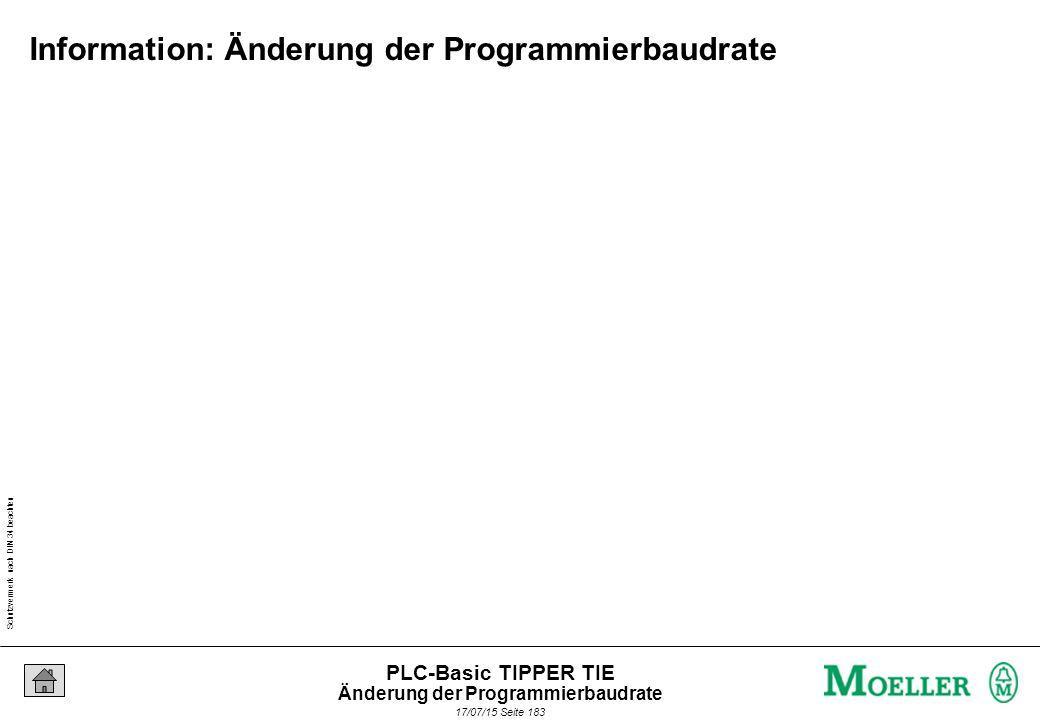 Schutzvermerk nach DIN 34 beachten 17/07/15 Seite 184 PLC-Basic TIPPER TIE Aufgabe: Ändern Sie die Baudrate auf 57600 Bit/s 38400 Bit/s 57600 Bit/s Änderung der Programmierbaudrate