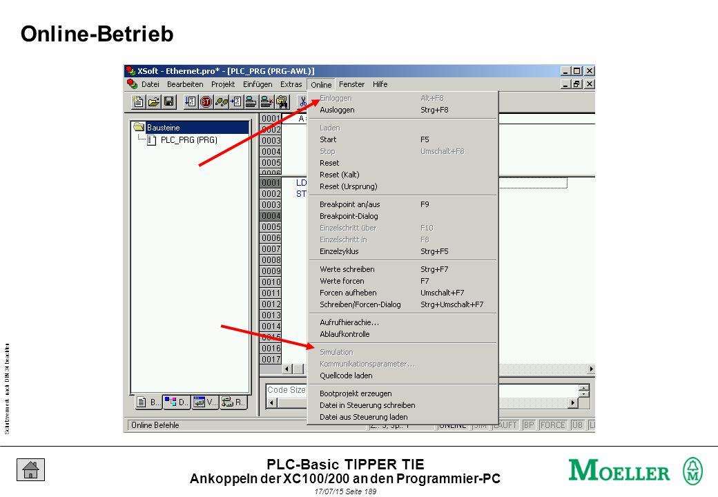 Schutzvermerk nach DIN 34 beachten 17/07/15 Seite 190 PLC-Basic TIPPER TIE Erstellen Sie ein neues Projekt, mit dem Programm Zykluszähler.