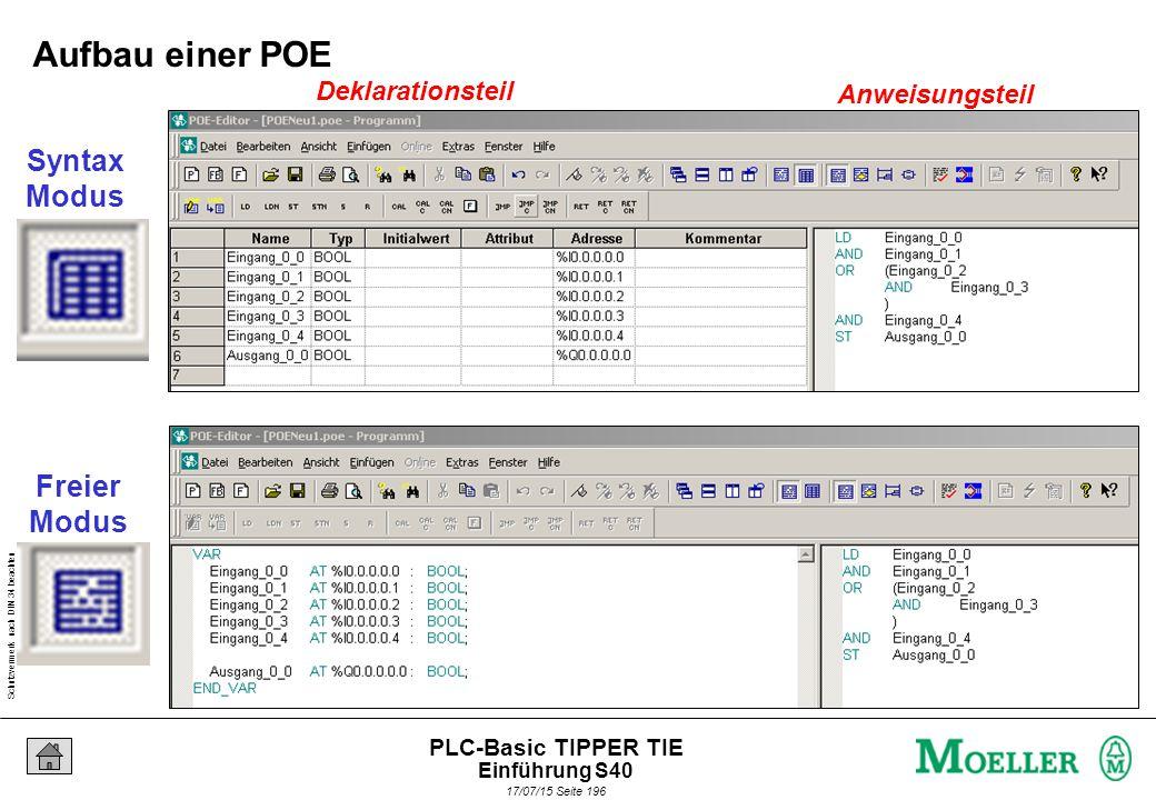 Schutzvermerk nach DIN 34 beachten 17/07/15 Seite 197 PLC-Basic TIPPER TIE S40 Fahrplan zur Programmierung