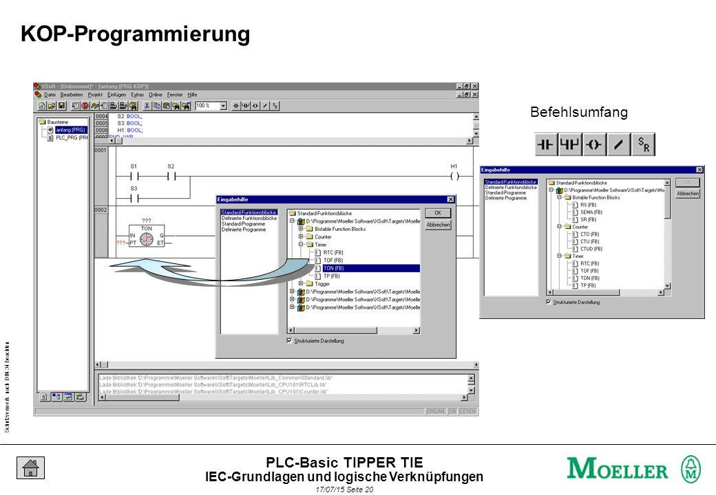 Schutzvermerk nach DIN 34 beachten 17/07/15 Seite 21 PLC-Basic TIPPER TIE Zuweisungen innerhalb eines Netzwerks Unterstützung über die Menüleiste Vorverschaltungen an Funktionsbausteinen Besonderheiten Programmeditoren KOP,FBS IEC-Grundlagen und logische Verknüpfungen