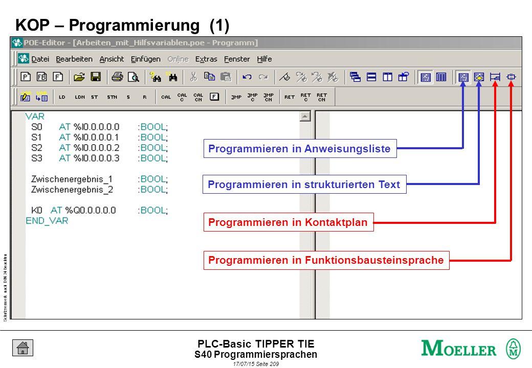 Schutzvermerk nach DIN 34 beachten 17/07/15 Seite 210 PLC-Basic TIPPER TIE Neues KOP – Netzwerk einfügen 2 Programmieren in Kontaktplan 1 KOP – Programmierung (1) S40 Programmiersprachen