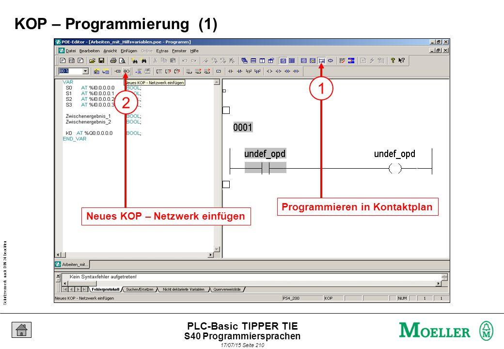 Schutzvermerk nach DIN 34 beachten 17/07/15 Seite 211 PLC-Basic TIPPER TIE 2 z.B.