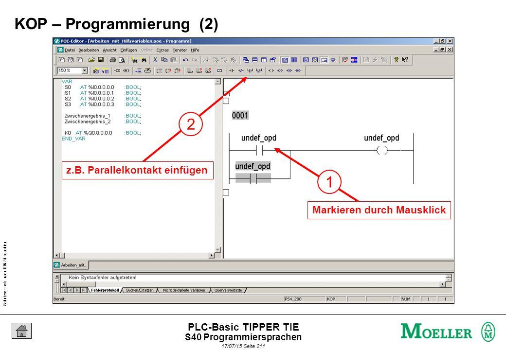 Schutzvermerk nach DIN 34 beachten 17/07/15 Seite 212 PLC-Basic TIPPER TIE 2 z.B.