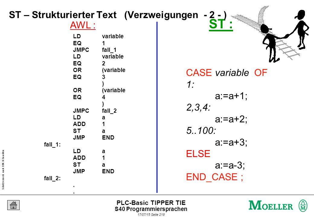 Schutzvermerk nach DIN 34 beachten 17/07/15 Seite 219 PLC-Basic TIPPER TIE FOR variable := 0 TO 20 DO feld_a[variable]:=100; feld_b[variable]:=50; feld_c[variable]:=3; END_FOR ; FOR ST – Strukturierter Text (Schleifen - 1 - ) S40 Programmiersprachen