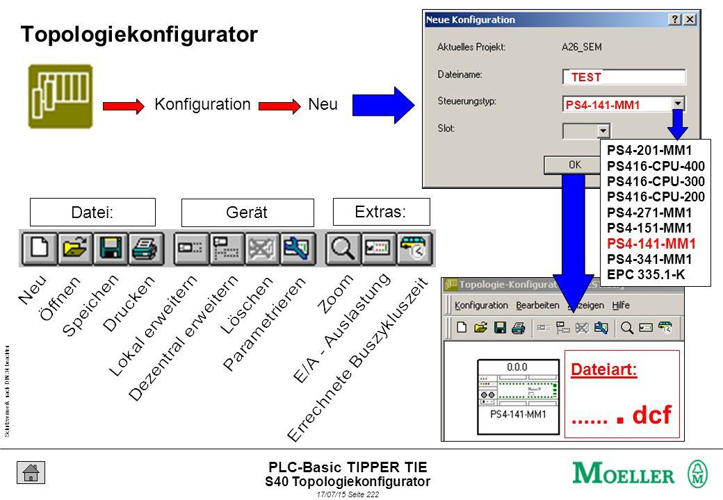 Schutzvermerk nach DIN 34 beachten 17/07/15 Seite 223 PLC-Basic TIPPER TIE Topologiekonfigurator -> beste Übersicht.
