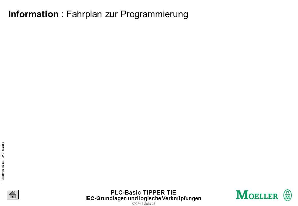 Schutzvermerk nach DIN 34 beachten 17/07/15 Seite 38 PLC-Basic TIPPER TIE Information : Fahrplan zur Programmierung IEC-Grundlagen und logische Verknüpfungen