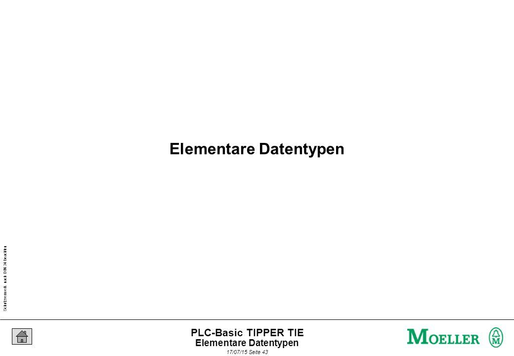 Schutzvermerk nach DIN 34 beachten 17/07/15 Seite 44 PLC-Basic TIPPER TIE Die Standard-Datentypen BOOL BYTE, WORD, DWORD SINT, INT, DINT USINT, UINT, UDINT REAL, LREAL STRING TIME, TOD, DATE, DT Elementare Datentypen