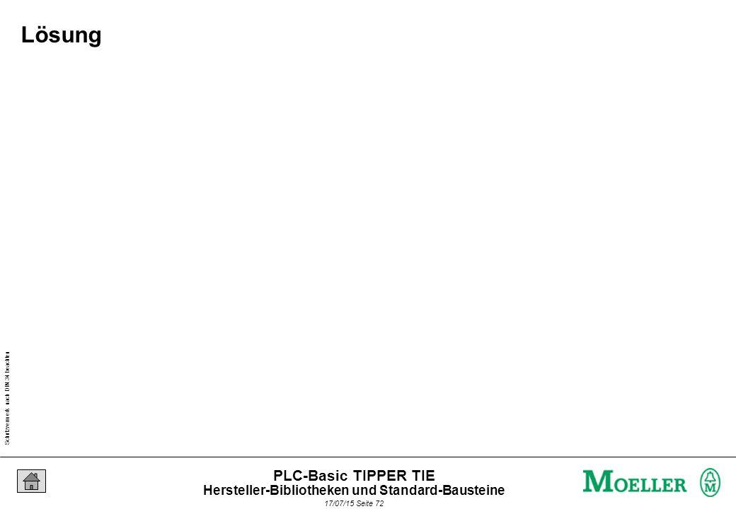 Schutzvermerk nach DIN 34 beachten 17/07/15 Seite 73 PLC-Basic TIPPER TIE : Toiletten-Licht-Lüfter-Steuerung Aufgabe Hersteller-Bibliotheken und Standard-Bausteine