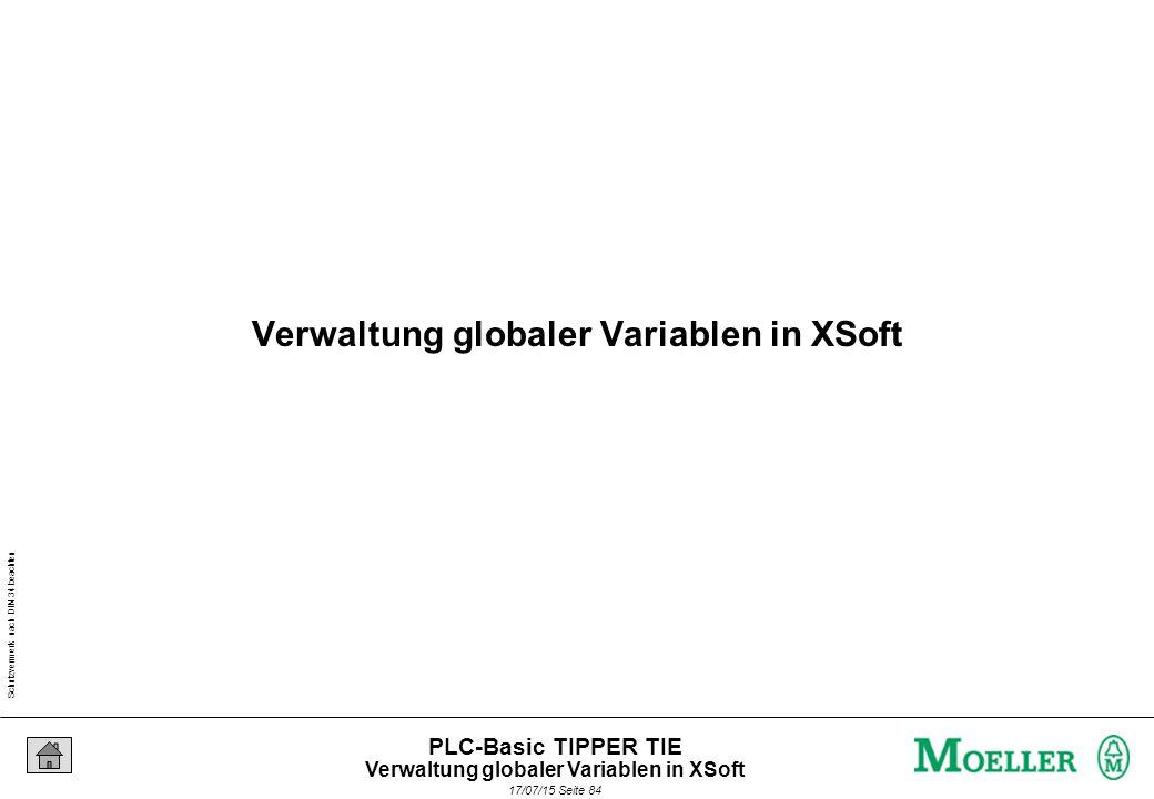 Schutzvermerk nach DIN 34 beachten 17/07/15 Seite 85 PLC-Basic TIPPER TIE Generell verfügbare Variablen Globale Variablen I Verwaltung globaler Variablen in XSoft