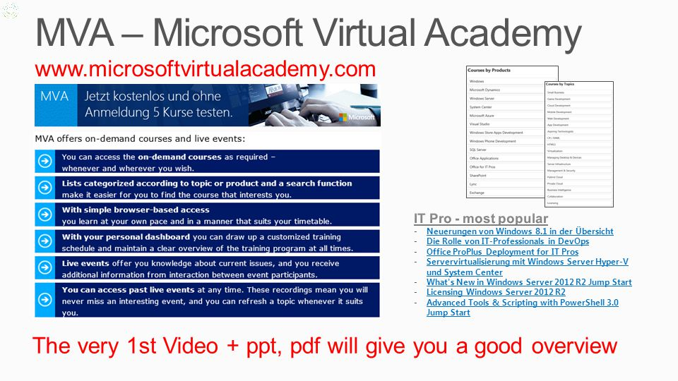 Test/Evaluate TechNet EvalCenter http://technet.microsoft.com/de-de/evalcenter/default http://technet.microsoft.com/fr-fr/evalcenter/default Free SW with full functionality (typ.
