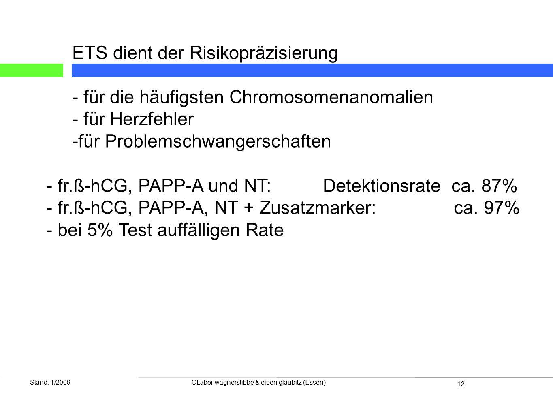 13 Die Wertigkeit neuer Risikobewertungssysteme beim Ersttrimesterscreening Stand: 1/2009©Labor wagnerstibbe & eiben glaubitz (Essen)