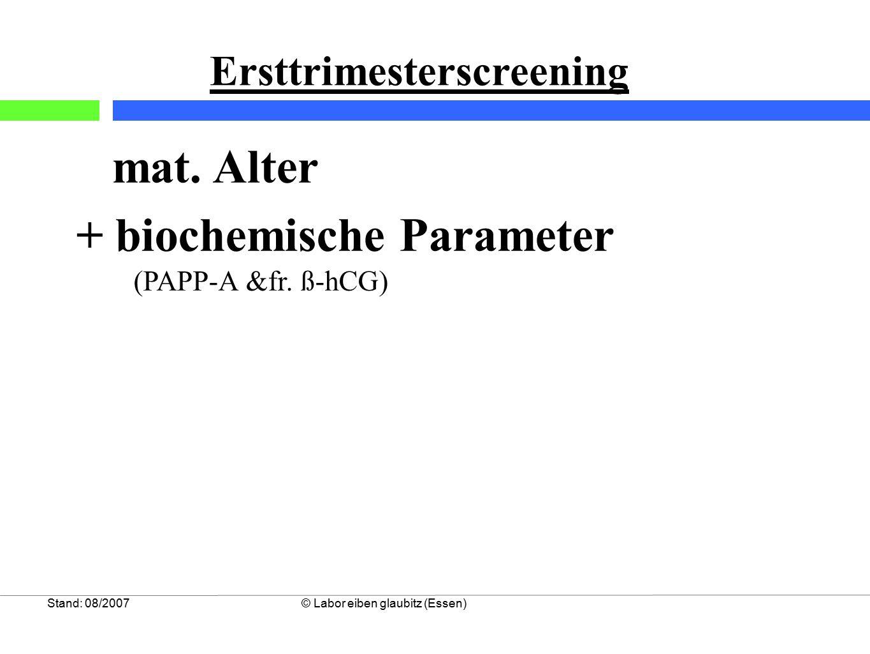 """3 PAPP-A Konzentration als Marker für """"adverse fetal outcomes Stand: 1/2009©Labor wagnerstibbe & eiben glaubitz (Essen) Barrett, Bower & Hadlow; Prenat Diagn 28-35, 2008 """"adverse fetal outcomes : - fetale Chromosomenstörungen - Fehlgeburten, Totgeburten, Neonataler Tod - angeborene Defekte 10273 Ersttrimesteruntersuchungen mit 3,9% Test auffälligen Rate bei 1,7% der Fälle: PAPP-A <0,3 MoM niedriges Geburtsgewicht 3,5 fach erhöht Frühgeburt 2,4 fach erhöht Fehlgeburt 4,7 fach erhöht"""