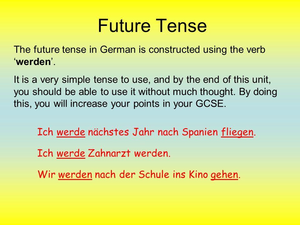 Future Tense Practise using werden.Change the sentences into the future tense: z.B.