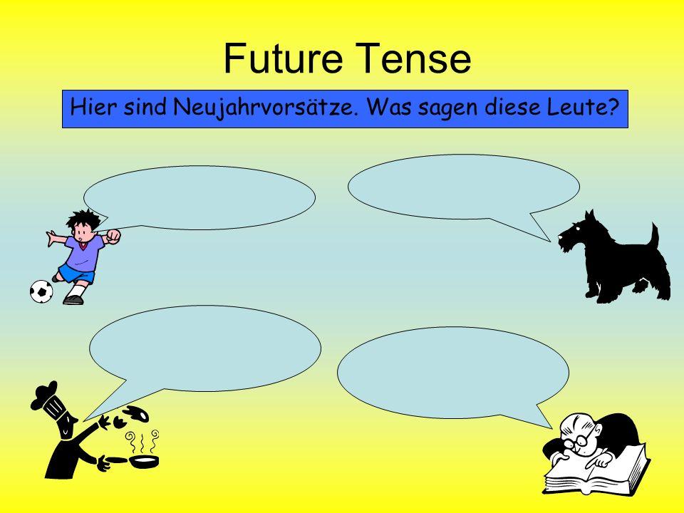 Future Tense Was wird im Jahr 2012 passieren.Was wirst du in 2012 machen.