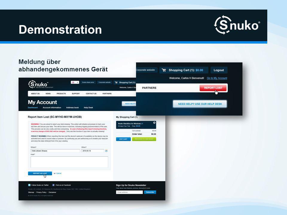 Demonstration Computer stellt Verbindung zum Internet her Snuko beginnt seine Arbeit