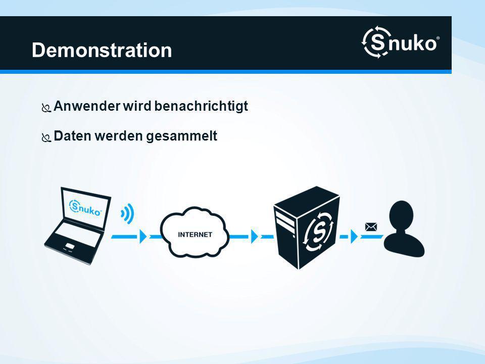 Demonstration Ansicht der Daten auf Snuko Dashboard Herunterladen der Daten auf anderes Gerät